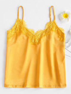 ZAFUL Satin Lace Panel Tank Top - Rubber Ducky Yellow S