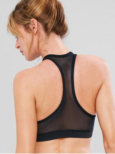 Sport Mesh Racerback Athletic Bra - Negro M Mobile