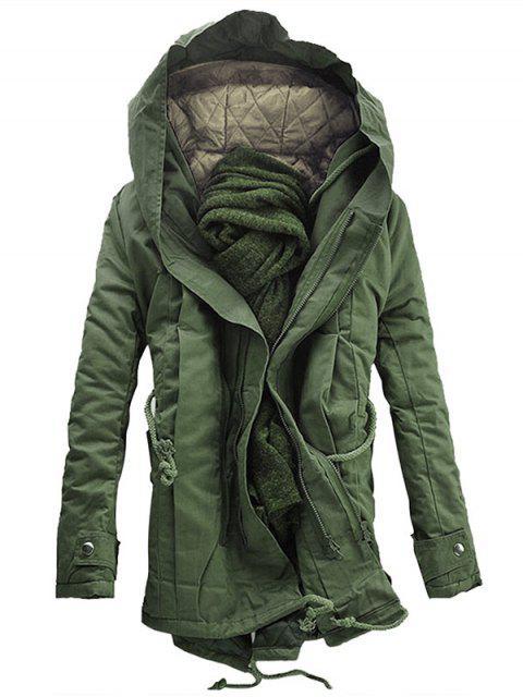 Mit Kapuze gepolsterter Parka-Mantel mit doppeltem Reißverschluss - Bundeswehrgrün M Mobile