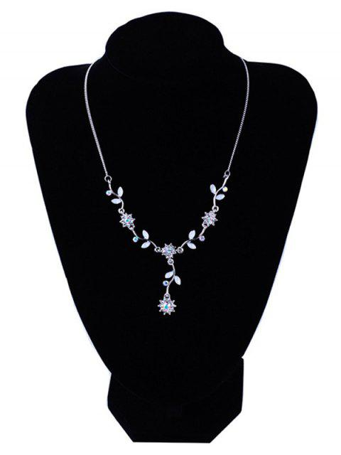ladies Artificial Crystal Flower Pendant Necklace - SILVER  Mobile