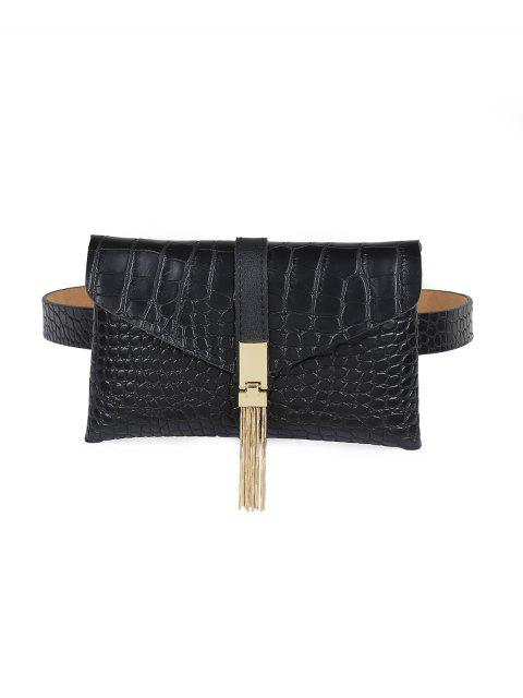 shop Solid Color Tassel Buckle Funny Pack Belt - BLACK  Mobile
