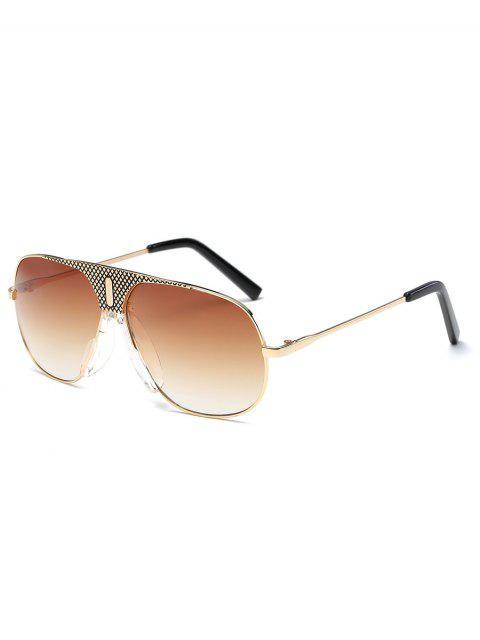 best UV Protection Metal Frame Shield Sunglasses - SANDY BROWN  Mobile
