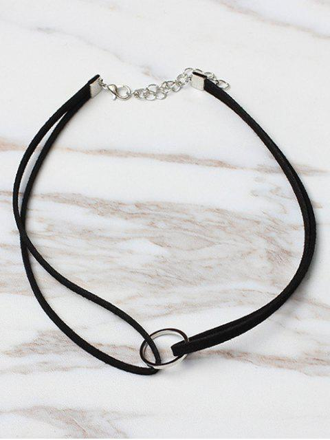 fancy Circle Shape Choker Necklace - BLACK  Mobile