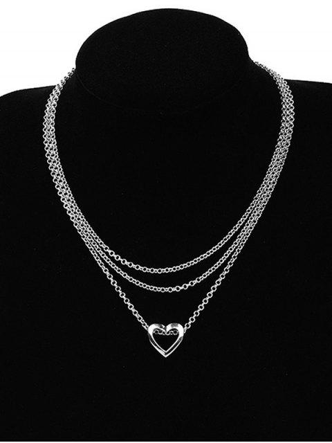 new Heart Shape Pendant Chain Necklace - SILVER  Mobile