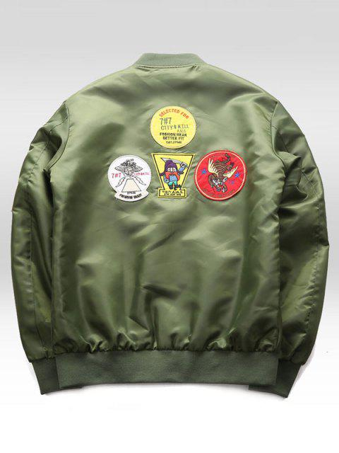 women's Graphic Embroidery Appliques Bomber Jacket - ARMY GREEN 2XL Mobile