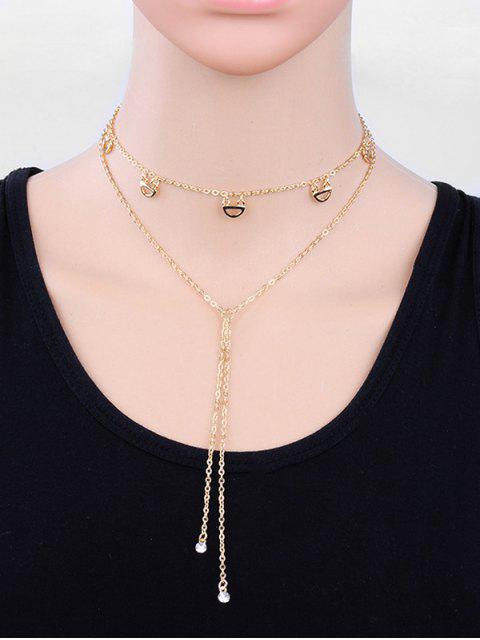 buy Layered Rhinestone Tassel Design Sweater Necklace - GOLD  Mobile