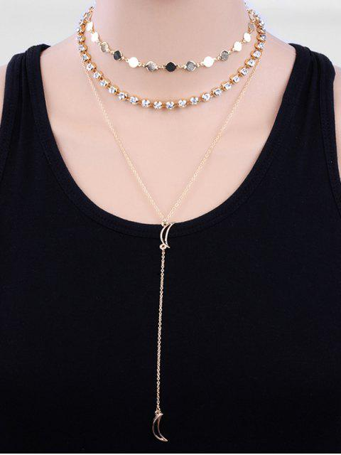 women Layered Beaded Rhinestone Moon Design Sweater Necklace - GOLD  Mobile