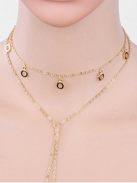 trendy Layered Small Hoops Design Hollow Necklace - GOLD  Mobile