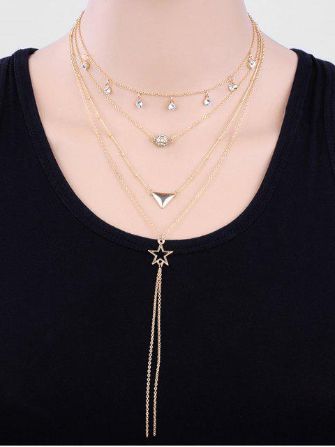 fashion Layered Rhinestoned Ball and Star Pendant Necklace - GOLD  Mobile