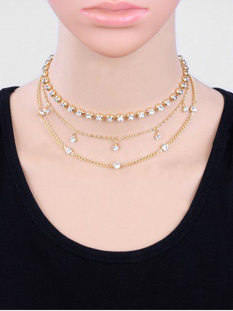 sale Layered Beaded Rhinestone Design Clavicle Necklace - GOLD  Mobile