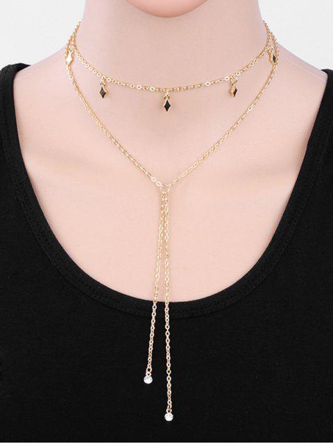 buy Geometric Layered Tassel Alloy Sweater Necklace - GOLD  Mobile