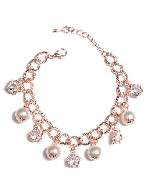 unique Beaded Rhinestone Star and Artificial Pearl Bracelet - GOLD  Mobile