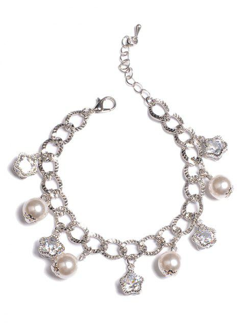 affordable Beaded Rhinestone Star and Artificial Pearl Bracelet - SILVER  Mobile