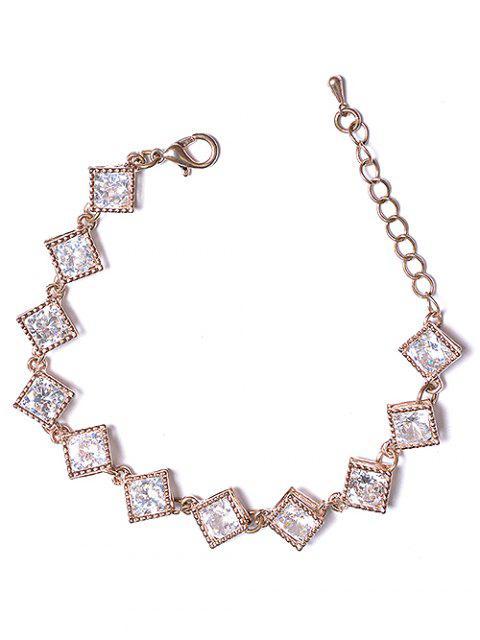 womens Hollow Rhinestone Design Metal Bracelet - ROSE GOLD  Mobile