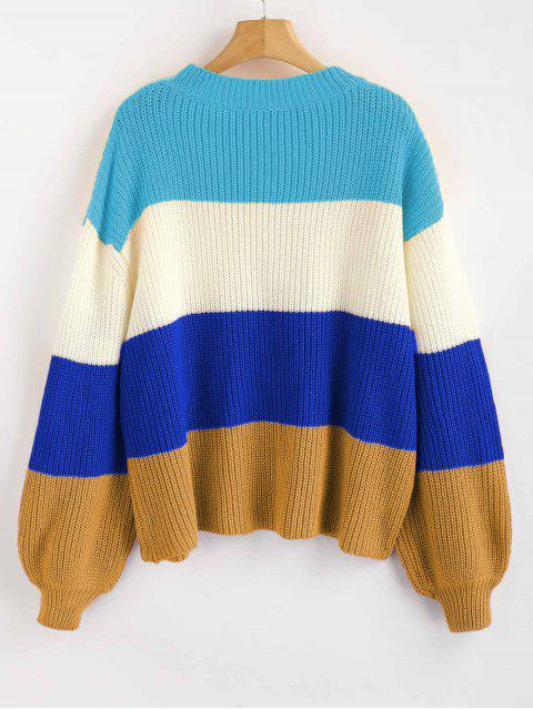 chic ZAFUL Lantern Sleeve Stripes Sweater - MULTI-B ONE SIZE Mobile