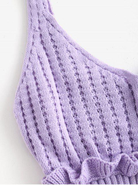 shops Frilled Openwork Sweater Vest - MAUVE ONE SIZE Mobile