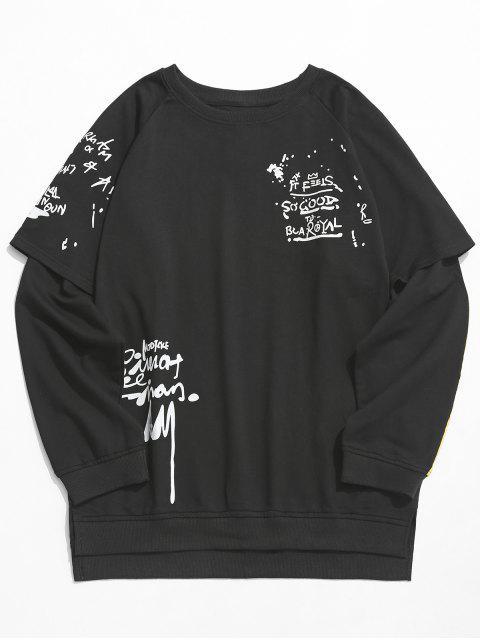 hot Streetwear False Two Piece Sweatshirt - BLACK S Mobile