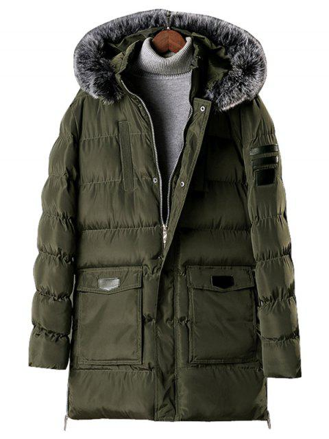 unique Detachable Fur Hooded Zip Fly Padded Coat - ARMY GREEN S Mobile