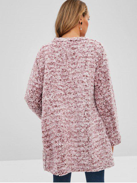 lady Open Front Loose Fluffy Coat - PINK S Mobile