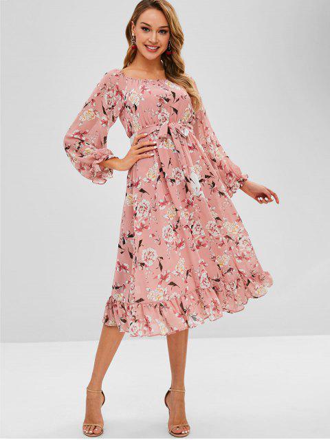 Robe mi-longue à fleurs et ceinture - Rose  L Mobile