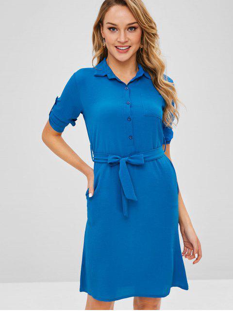 Robe ceinturée à demi-boutons - Bleu XL Mobile