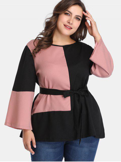 outfit Belted Two Tone Plus Size Blouse - MULTI 5X Mobile