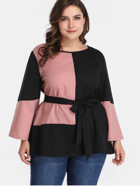 latest Belted Two Tone Plus Size Blouse - MULTI 4X Mobile