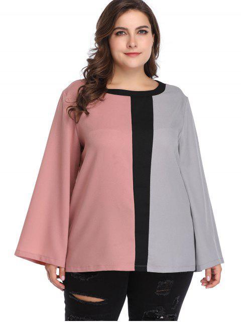 new Plus Size Long Sleeve Color Block Blouse - MULTI 3X Mobile
