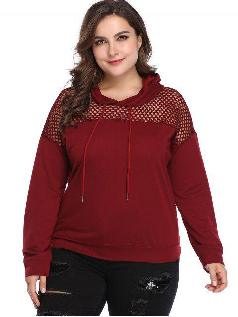 Sweat-shirt Ajouré de Grande Taille à Corodn - Rouge Vineux 4X Mobile
