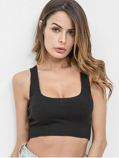 women's U Neck Crop Tank Top - BLACK M Mobile