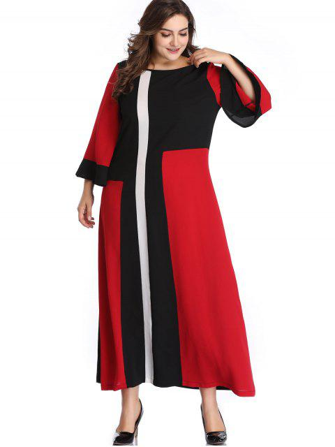 best Plus Size Color Block Flare Sleeve Dress - RED 3X Mobile