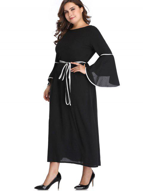 lady Flare Sleeve Belted Plus Size Maxi Dress - BLACK 3X Mobile