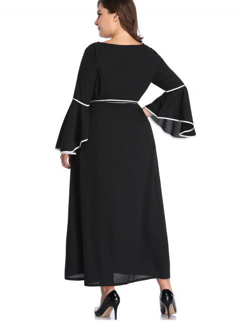 best Flare Sleeve Belted Plus Size Maxi Dress - BLACK 4X Mobile