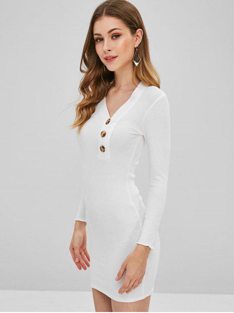 Robe Moulante Côtelée Boutonnée - Blanc M Mobile
