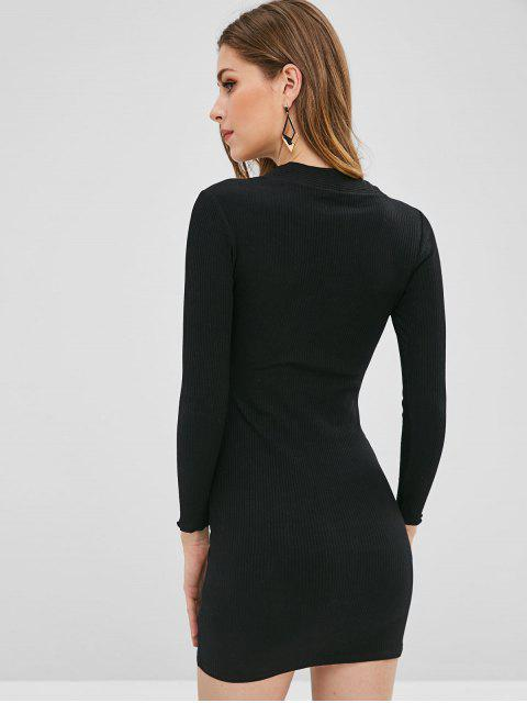 lady Buttoned Ribbed Bodycon Dress - BLACK L Mobile