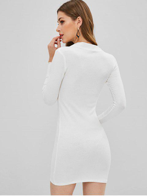 women's Buttoned Ribbed Bodycon Dress - WHITE L Mobile