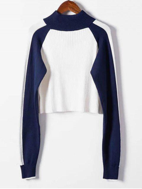 ハーフジップクロップド配色セーター - 白 ワンサイズ Mobile
