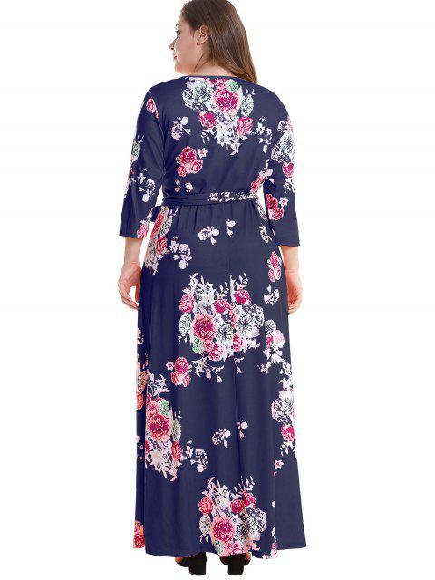chic Floral Plus Size Surplice Maxi Belted Dress - DEEP BLUE 2X Mobile