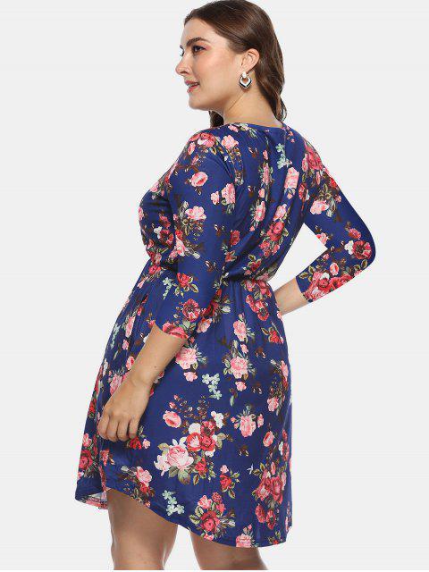 lady Floral Plus Size A Line Dress - DEEP BLUE 3X Mobile