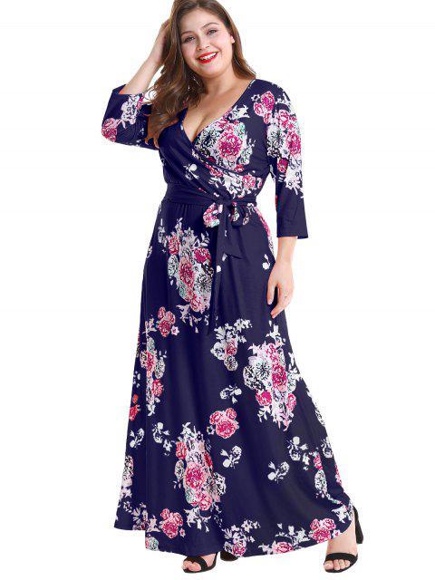 outfit Floral Plus Size Surplice Maxi Belted Dress - DEEP BLUE 3X Mobile