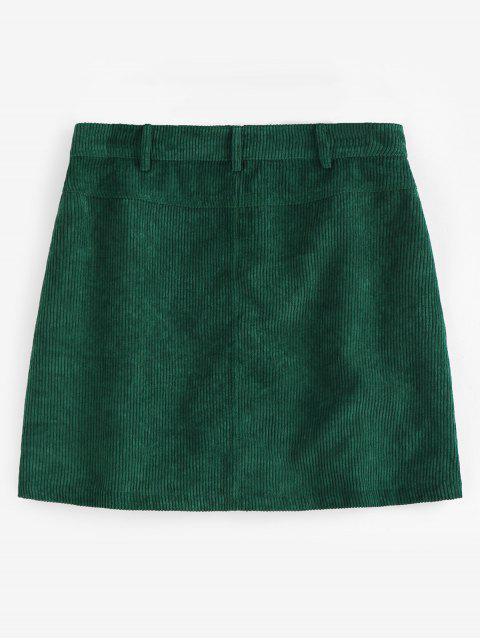 women ZAFUL Half Zip Pockets Corduroy Skirt - MEDIUM FOREST GREEN L Mobile