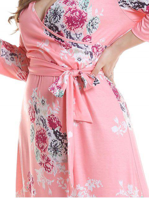 shops Floral Plus Size Surplice Maxi Belted Dress - PINK 2X Mobile