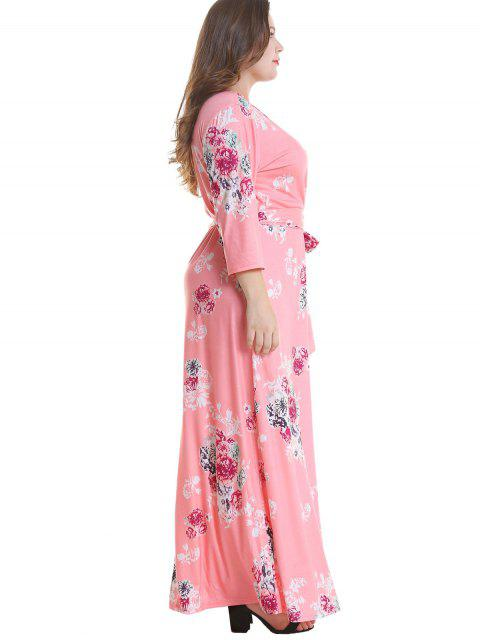 chic Floral Plus Size Surplice Maxi Belted Dress - PINK 4X Mobile