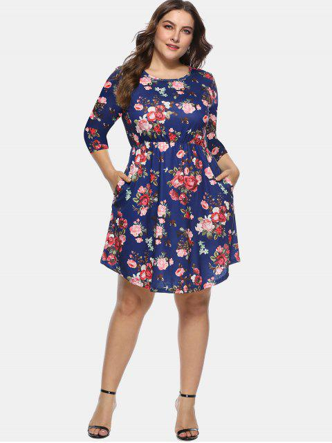 affordable Floral Plus Size A Line Dress - DEEP BLUE 2X Mobile