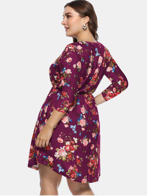 ladies Floral Plus Size A Line Dress - PLUM PIE 3X Mobile