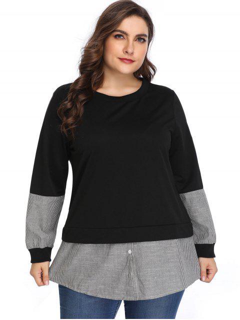 outfit Buttoned Stripes Panel Plus Size Sweatshirt - BLACK 4X Mobile