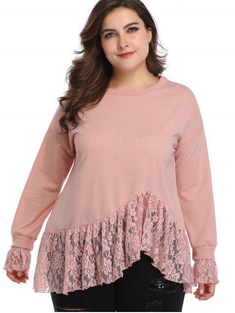 trendy Lace Insert Plus Size Sweatshirt - PINK 5X Mobile