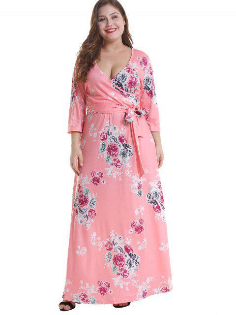 ladies Floral Plus Size Surplice Maxi Belted Dress - PINK 1X Mobile