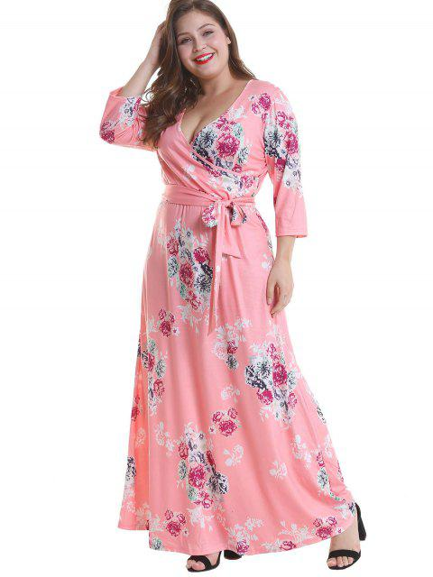 online Floral Plus Size Surplice Maxi Belted Dress - PINK 3X Mobile