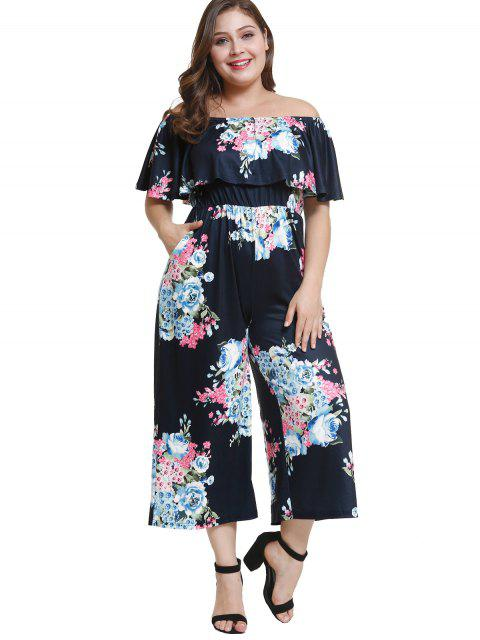 outfits Off Shoulder Plus Size Floral Flounce Jumpsuit - DEEP BLUE 4X Mobile